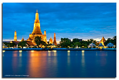Wat Arun - Gold & Blue (DanielKHC) Tags: blue night digital thailand temple high nikon long exposure dynamic dusk bangkok wat range dri increase hdr arun blending d300 sigma18200mm danielcheong danielkhc