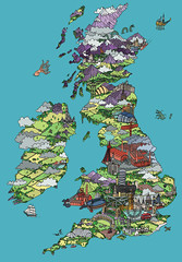 Design map of Britain for CAP (andy council) Tags: uk trees houses mountains detail art andy illustration magazine bristol design britain map drawing cities landmarks fields council andycouncil
