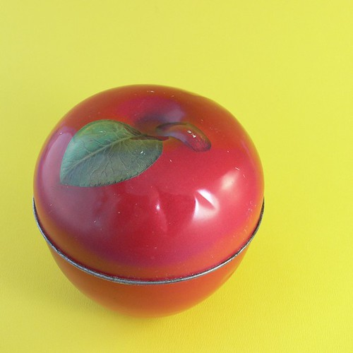 Vintage Bright Red Apple Shaped Tin