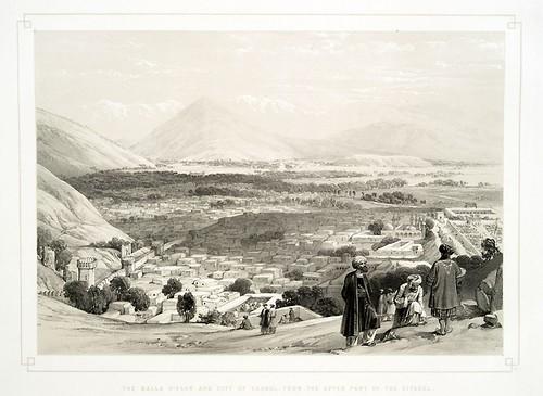 024-El Balla Hissar y la ciudad de Kabul desde la ciudadela-Sketches in Afghaunistan 1842- James Atkinson
