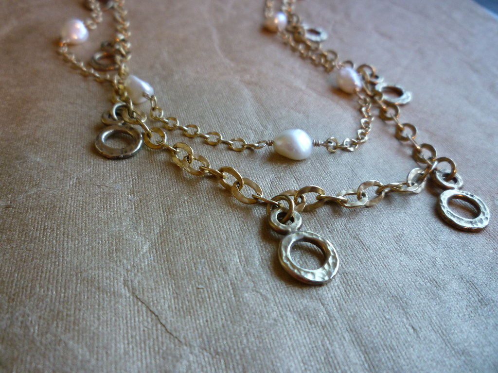 Gold Dangles & Pearls Necklace