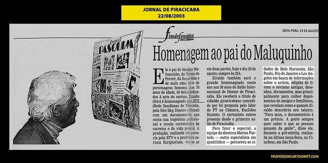 """""""Homenagem ao pai do Maluquinho"""" - Jornal de Piracicaba - 22/08/2003"""