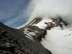 Clouds coming in over Mt Hood's summit  from 8,000 feet up the NE side (RobertCross1 (off and on)) Tags: oregon or cascades mthood volcanoes 1001nights range doublyniceshot doubleniceshot 1001nightsmagiccity pacificnorthwestmountainscascade