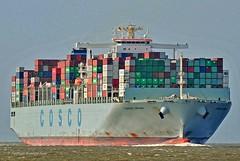 Cosco Spain (Bernhard Fuchs) Tags: boat cargo cargoships cuxhaven containerschiff containerschiffe elbe frachtschiff frachtschiffe nikon schiffe ship ships vessel water cosco schiff