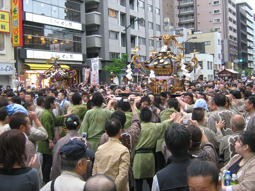 Mikoshi being carried through the streets of Asakusa