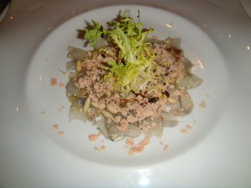 Carpaccio de langostinos con Foie Micuit, queso rondeño y vinagreta de Módena