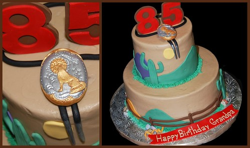 85th birthday arizona themed cake with bola tie