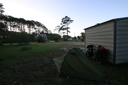 Wild camp in Mexico Beach, Florida.