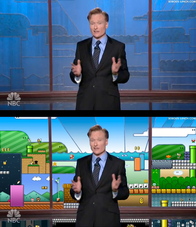 Thumb Super Mario Bros. es el fondo del vitral de The Tonight Show with Conan O'Brien