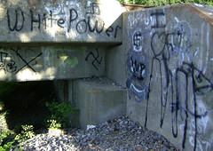 Sometimes it crawls out from beneath the bridge 0531091827 (Patrick Feller) Tags: hate racism whitepower ignorance evil stupidity violence whitesupremacy whiterace angrywhiteguys angrywhitemen angrywhite racebaiting racist bigotry birther fear antisemitic finalsolution swastika nazi neonazi rightwing extremist terrorism graffiti freeper freerepublic secession houston texas easttexas rustydepass depass kkk kukluxklan kingwoodteaparty minutemen aryan southernpride spiritoftheconfederacy southernheritage confederate confederacy dixie neoconfederate oldsouth sonsofconfederateveterans monument memorial pontist scv united states north america