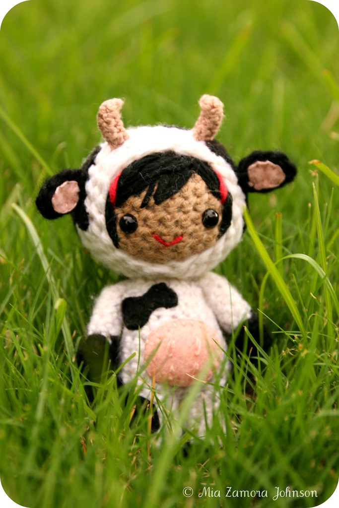 Cow girl amigurumi doll