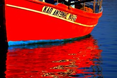 Red boat reflection (Marite2007) Tags: red sea water closeup reflections greek harbor boat wooden fishing marine mediterranean vibrant aegean vivid greece maritime transparent reflexions sparkling flashy blueribbonwinner gnneniyisithebestofday flickrbestpics reflectsobsessions