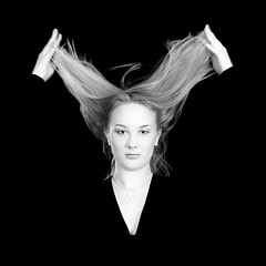 Triangle (Rune T) Tags: portrait bw black hair square movement hands triangle background falling