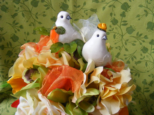 Wedding decor silk flower bouquet centerpiece decoration - ORANGE,YELLOW,GREEN citrus hues