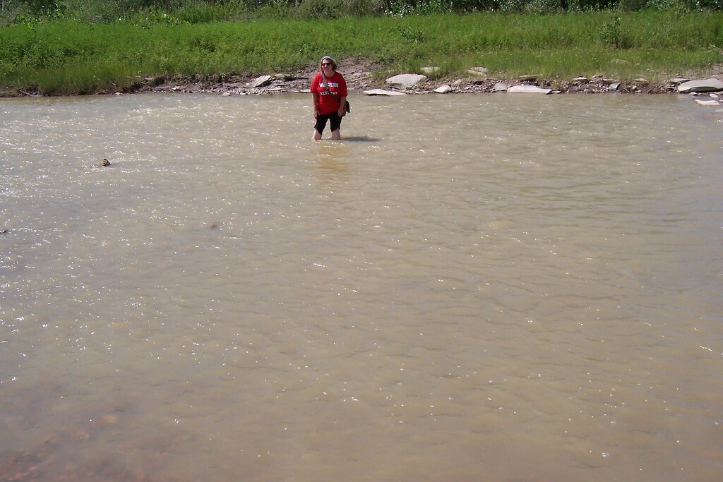 Crossing a river in Sully Creek Recreation Area