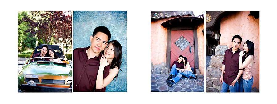 disneyland engagement session car blue wall orange building pg02
