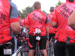 Sturbridge riders waiting for the start, one with a message of confidence.