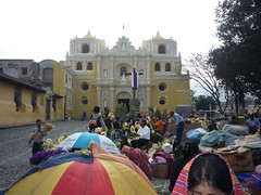 Outside a beautiful church in Guatemala.