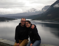Sean & Erica at Saint Mary Lake (LastGreatRoadTrip) Tags: mt sean erica glaciernationalpark