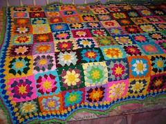 108 Colorful Flowers (bienzfive) Tags: wool colors rainbow squares handmade crochet yarn explore blanket afghan granny redheart grannysquare rainbowcolors crochetblanket crochetalong attic24 bienzfive