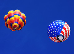Colorado Balloon Classic, Memorial Park in Colorado Springs, CO, Labor Day Weekend (Beverly & Pack) Tags: blue red sky white holiday hot classic colors festival colo stars fly flying photo rainbow colorado colorful skies basket quilt bright image wind stripes flag air ballon balloon flight picture patriotic gas clear american coloradosprings co patch patchwork wicker 2009 patches laborday memorialpark oldglory