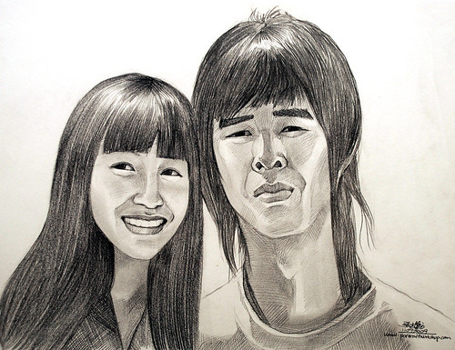 Couple portraits in pencil 110909