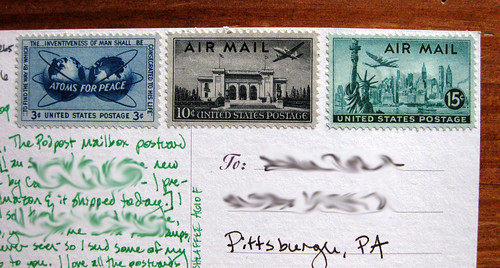 Vintage stamps: Air Mail, Atoms for Peace