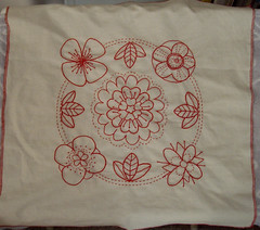 Redwork Embroidery: The Quilt Project (Idlepines) Tags: embroidery craft redwork thequiltproject
