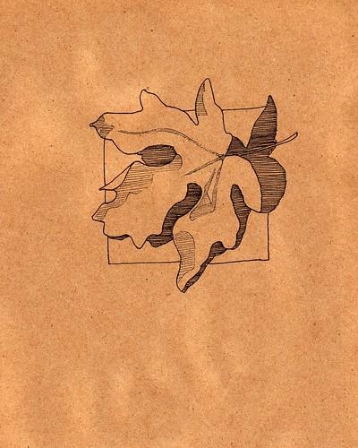 Leaf on craft paper