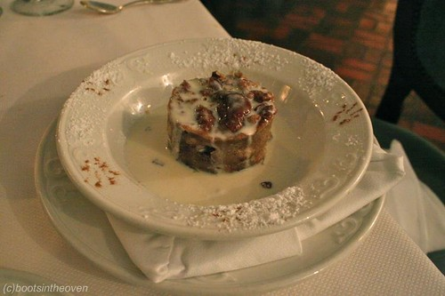 Green Pastures Bread Pudding: Traditional New Orleans style bread pudding with white chocolate, pecans, cinnamon, and nutmeg. Served with a Jack Daniels sauce
