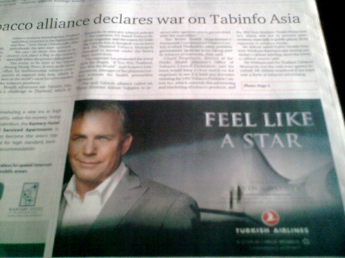 Kevin Costner Turkish Airlines ad in Bangkok Post
