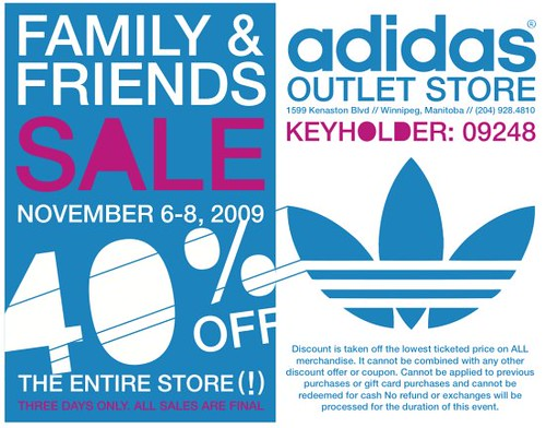 7ec5f55be5ac76 Adidas Friends   Family Sale. The management and staff of the Winnipeg  Adidas Outlet Store ...