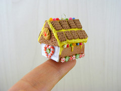 Miniature Gingerbread House Charm (Shay Aaron) Tags: christmas xmas food house tree scale dessert miniature candy crystal handmade aaron fake mini jewelry polymerclay fimo biscuit ornament tiny faux shay icing candycane 12th 112 cuts frosting geekery jewel petit twelfth hanselandgretel chocolatechipscookie christmasspirit brothergrimm shayaaron wearablefood sprinklescharmpendantnecklace