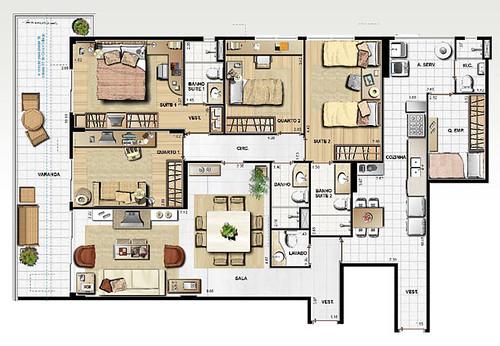modelo de planta de casa grande