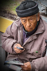 Old Man with Magnifying Glass (klauslang99) Tags: klauslang streetphotography portrait person people queretaro mexico