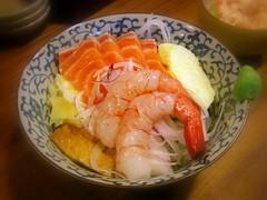 鮭魚甜蝦丼