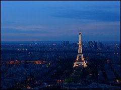Sunset in Paris (sara-maria) Tags: blue sunset sky paris france lights frankreich sonnenuntergang view eiffeltower himmel toureiffel blau aussicht eiffelturm soe lichter mywinners theunforgettablepictures