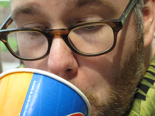 Sucking down a milkshake