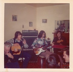 1970s Basement Jam (Bijou Living) Tags: party man men smiling fashion rock musicians vintage hair glasses singing cigarette style smoking fender 70s 1970s gibson hairstyles menwithlonghair vintageguitar
