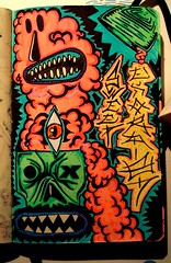Sketch. (Demone tasso1_01) Tags: art moleskine monster painting robot neon canvas mutant fluo