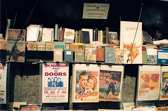 Bookstall along the Seine (roopez123) Tags: paris france seine lolita movies casablanca bogart jimmorrison thedoors bookstall