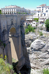 Old Ronda Bridge (cwgoodroe) Tags: summer costa white hot sol beach del bells spain ancient europe churches sunny bull bullfighter adobe ronda moors walls washed clothesline protective newbridge roda bullring stonebridge oldbridge spainish whitehilltown rondah spanishdoors