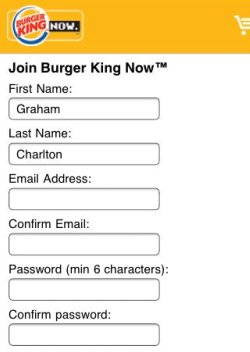 BK iPhone app registration
