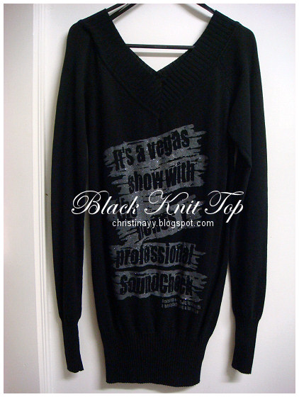 Valley Girl: Black Knit Top