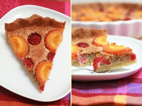 Part de tarte abricots et framboises