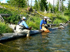 Taking a break at Beula Lake (Upstate Dave) Tags: fishing hiking yellowstone flyfishing troutfishing beulalake yellowstonefishing