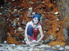 Me in front of a closed mine entrance (Megan is me...) Tags: pink blue orange hair effects eyes colorful mine closed neon pretty colours russell bright crystal turquoise off jerome colored atomic punky dyed napalm specail