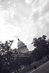Texas capitol skies (simis) Tags: trees sky blackandwhite building lines architecture clouds landmark paths trashcan austintx quadtone fromarchives