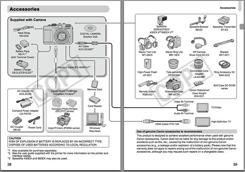 Canon G11 Accessories Chart