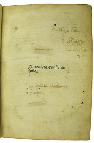 Ownership inscription in Ockam, Guilielmus: Quodlibeta